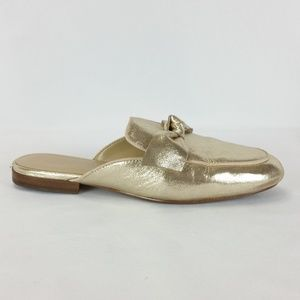 Ann Taylor 10M Gold Leather Bow Mules
